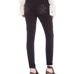 Miss Me  Skinny Black Fleur De Lis Jeans
